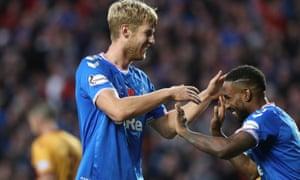 Filip Helander celebrates scoring Rangers' winner with fellow goalscorer Jermain Defoe.