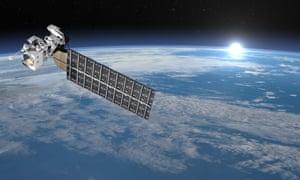 Aqua satellite in space orbiting Earth.