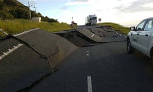 Damaged road near Oaro on State Highway 1, caused by Monday's earthquake in New Zealand.