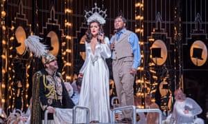 An English National Opera production of Verdi's La Traviata at the London Coliseum.