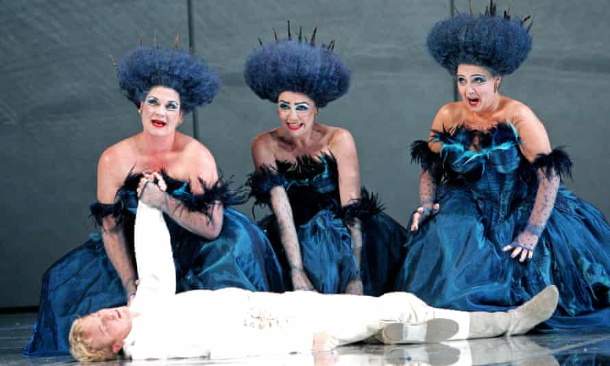 Yvonne Howard, Lee Bissett, Susanna Tudor-Thomas and Toby Spence as Tamino in The Magic Flute at English National Opera.