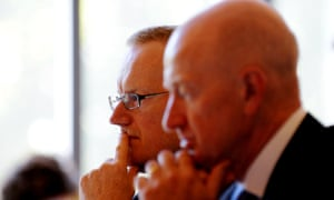 Philip Lowe, left, takes over from Glenn Stevens as and governor of the Reserve Bank of Australia.