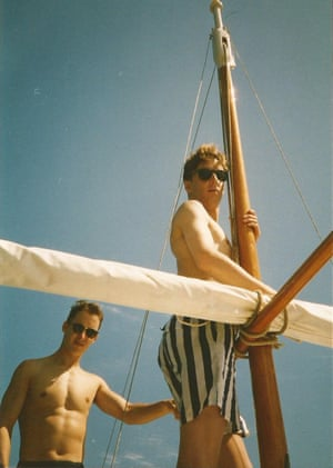 Nick with Simon in Mallorca in 1989
