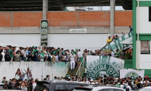 Fans of Chapecoense soccer team are pictured in front of the Arena Conda stadium in Chapeco, Brazil.