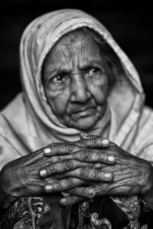 Supia Katun photographed in Kutupalong refugee camp. The elderly lady was carried by relatives for 3 days over the border between Myanmar and Bangladesh to escape the violence which erupted in August 2017