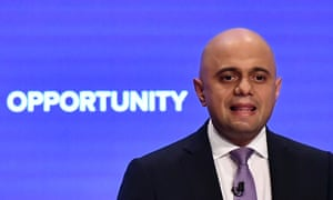 Sajid Javid gives a speech on the third day of the Conservative Party Conference