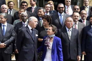 French foreign minister, Laurent Fabius (second left), with Figueres in Paris earlier this year.