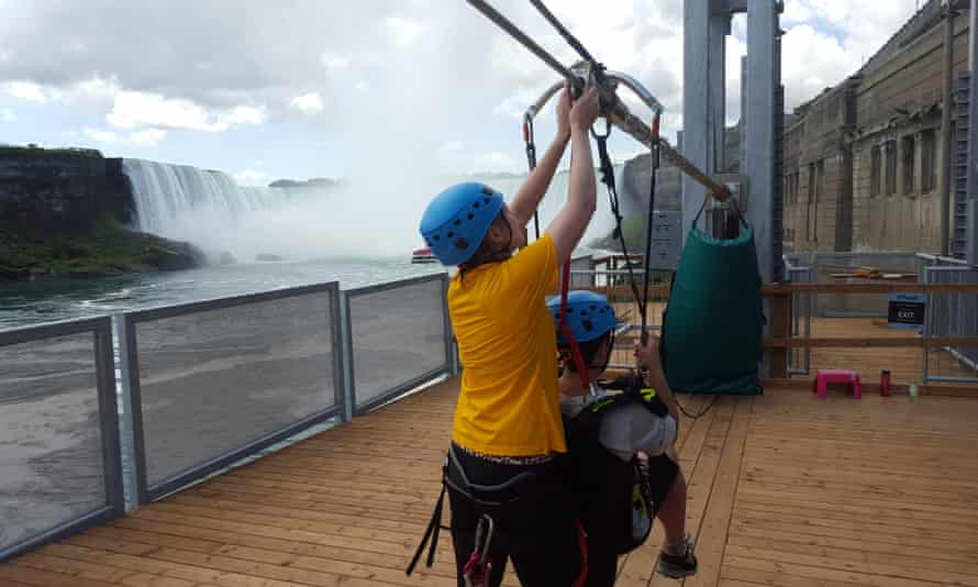 The viewing platform perches over the Niagara river
