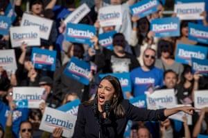 Alexandria Ocasio-Cortez at a 'Bernie's Back' rally in Queens, New York