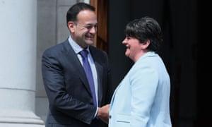 Taoiseach Leo Varadkar and DUP leader Arlene Foster in Dublin, 16 June 2017.