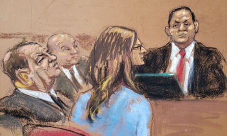 Harvey Weinstein in court on Thursday, as Dev Sen, an attorney from Boies Schiller, testifies. Sen said Boies Schiller signed a contract with Black Cube and the deal was sealed on Weinstein's instruction.