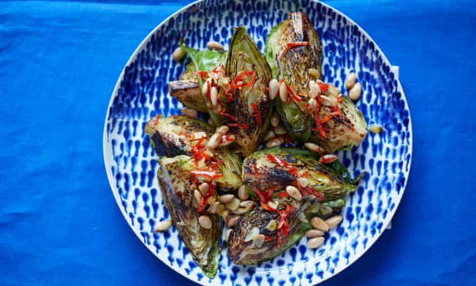 Seared hispi cabbage with chilli and almonds.