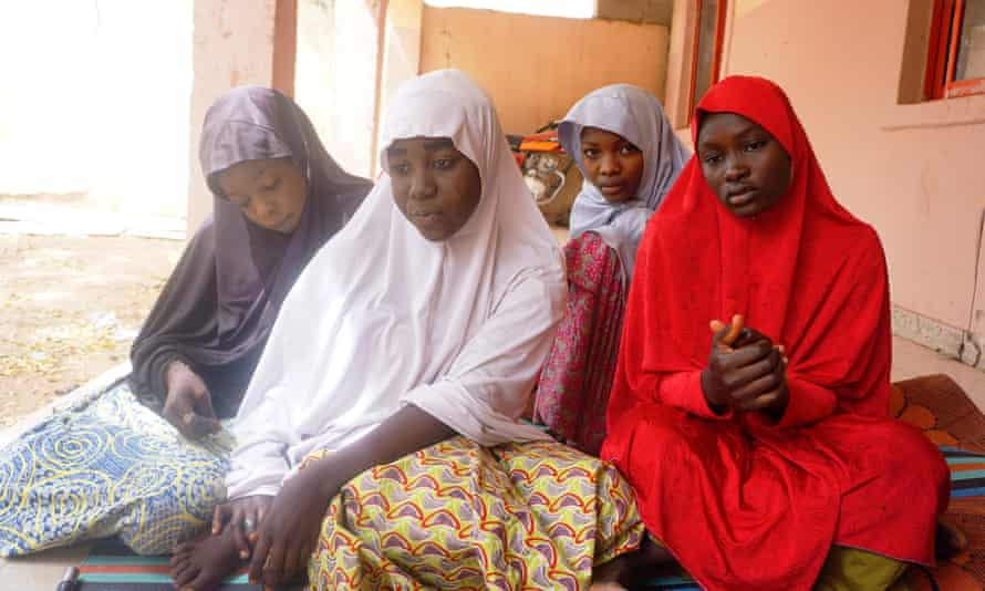 (From left) Fatima Abdu, 14, Zahra Bukar, 13, Fatima Bukar, 13, and Yagana Mustapha, 15, Government Girls Technical College in from Dapchi, who escaped the Boko Haram attack.