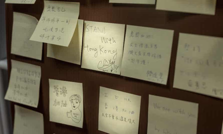 A creation of the Hong Kong Lennon Wall: notes written in solidarity with Hong Kong protestors.