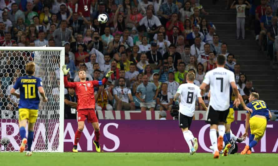 Ola Toivonen puts Sweden ahead with a dazzling chipped finish.