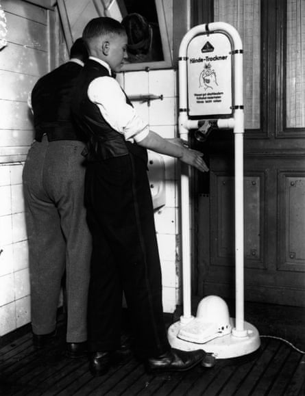 An early pedal-operated hand dryer