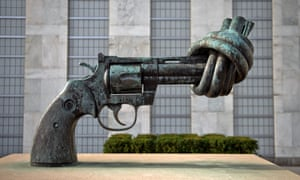 The 'knotted gun' sculpture outside the United Nations headquarters in New York