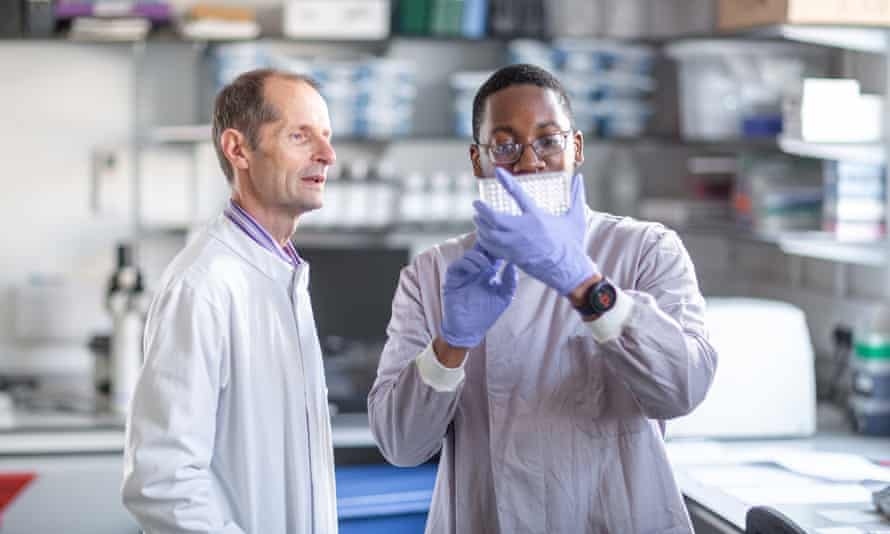 Professor Robin Shattock, left, and technician Leon Mcfarlane as the team at Imperial College in London continue to work on a Covid-19 vaccine.