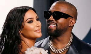 Kim and Kanye attending the Vanity Fair Oscars party in Beverly Hills in February 2020.
