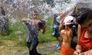 Water water everywhere … the Vardavar water festival.