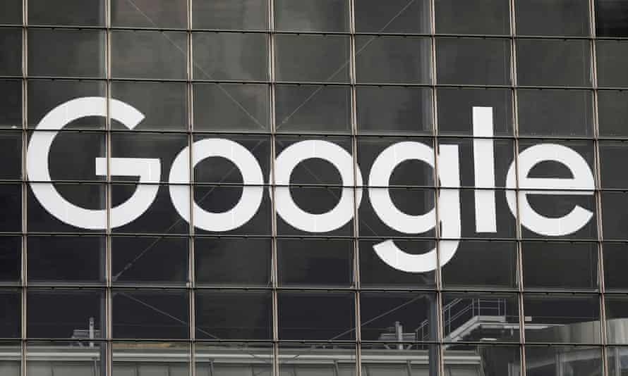 The Google logo on a building in La Défense near Paris, France.