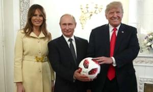 Soccerball: Melania, Vladimir and Donald in Helsinki.