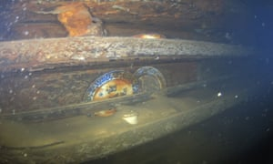 Divers found plates next to a mess table on HMS Terror.