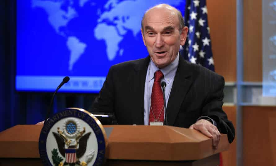 Elliot Abrams speaks to reporters during a news conference at the state department in Washington DC on 25 January.