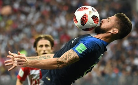 Olivier Giroud controls the ball during the 2018 World Cup final win over Croatia.