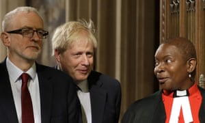 Parliamentary chaplain, Rose Hudson-Wilkin, with Jeremy Corbyn and Boris Johnson.