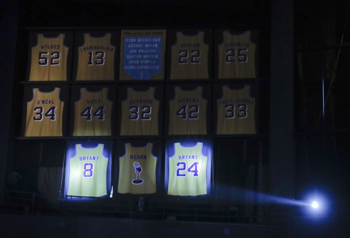 66579a80d Los Angeles Lakers retire Kobe Bryant s No8 and No24 jerseys in NBA first