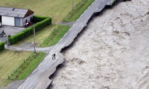 End of the road: the Gave de Pau river overflows after unseasonal storms in France.