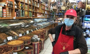 Masked man at Saladin spice shop in Noailles