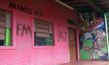 Radio Mandu'arã, a community radio station that has been shut down.