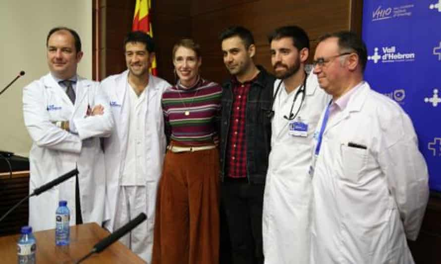 Audrey Mash with doctors in Barcelona