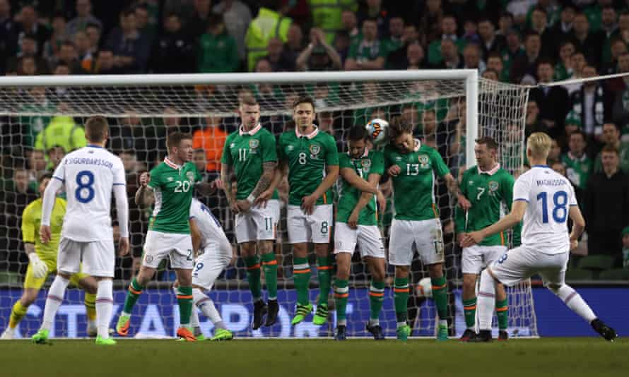 Hordur Magnusson, right, scores Iceland's winning goal from a free-kick against Republic of Ireland.