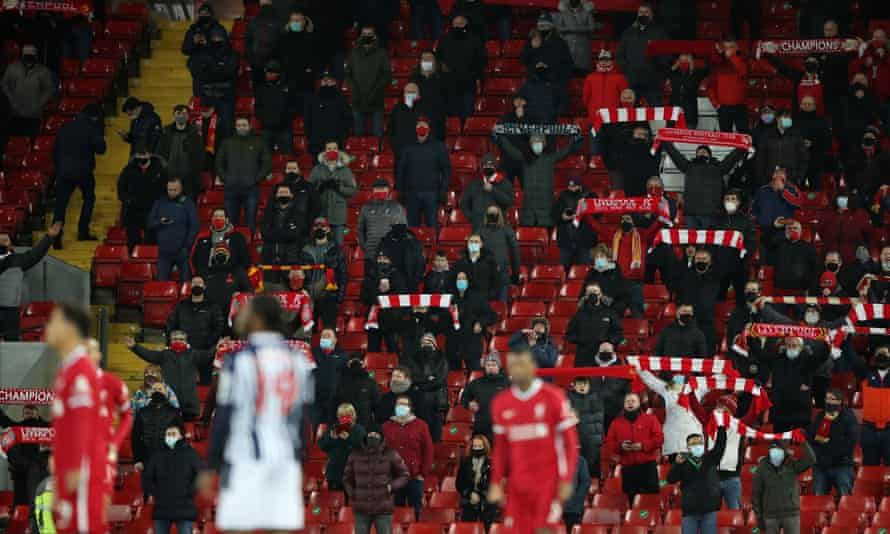 Liverpool fans at Anfield last December. The Premier League is among the sports bodies to have signed the letter.