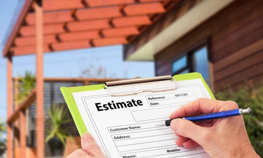 Hand writing an estimate for home building renovation