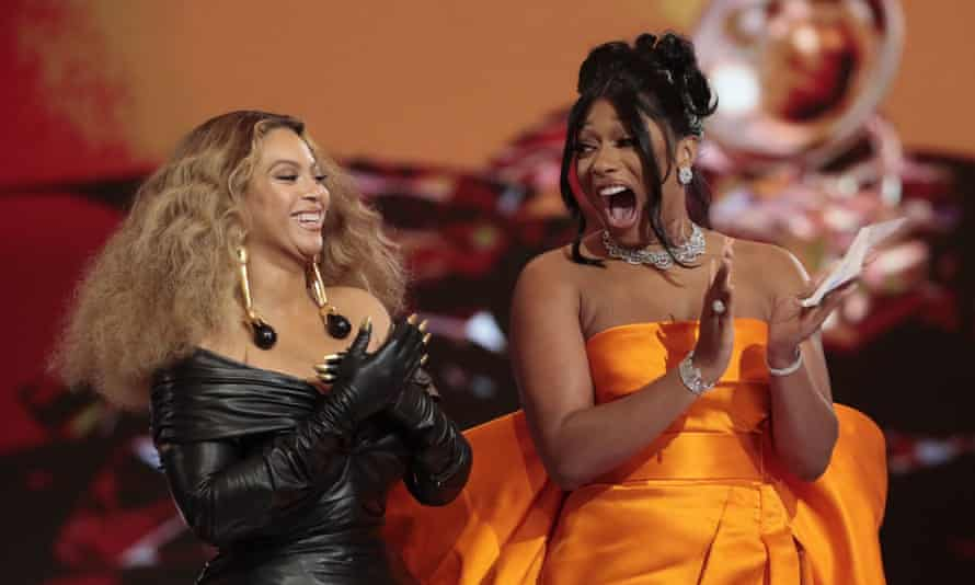 Universal star Megan Thee Stallion on stage with Beyoncé for one of the three Grammys she won at this year's awards.