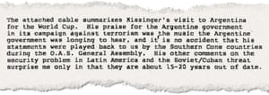 A state department memorandum from 1978 relating to Kissinger and human rights in Latin America and Argentina.