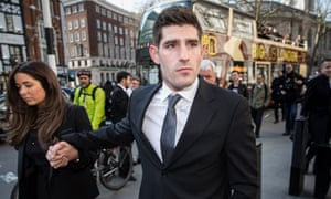 Ched Evans outside the Royal Courts of Justice in London