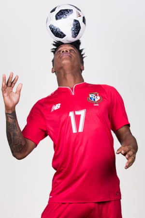Luis Ovalle demonstrates his ball skills during the photoshoot. He will be hoping to play in Panama's opening game against Belgium - the Central American side's debut in the World Cup finals.