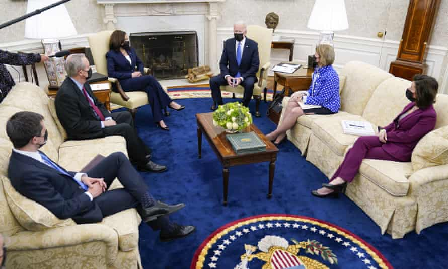 Joe Biden meets a Republican delegation led by Senator Shelley Moore Capito, second right, along with members of his administration to discuss infrastructure proposals earlier this month.