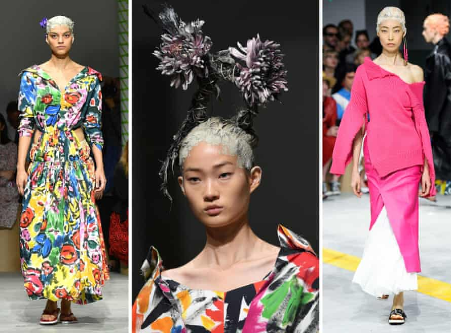 A model presents a creation by Marni during Milan fashion week