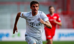 Thomas Müller in action during Bayern Munich's Bundesliga return, the 2-0 win at Union Berlin on Sunday.