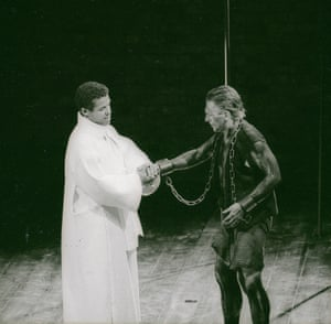 The Two Noble Kinsmen, 1986. Directed by Barry Kyle, designed by Bob Crowley. The photograph shows Arcite (Hugh Quarshie) and Palamon (Gerard Murphy).