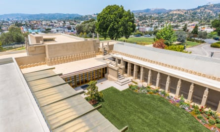The courtyard at Hollyhock House, which Frank Lloyd Wright designed for the oil heiress Aline Barnsdall.