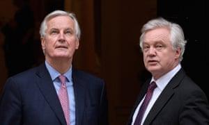Key players Michel Barnier David Davis meet in London on 5 February.
