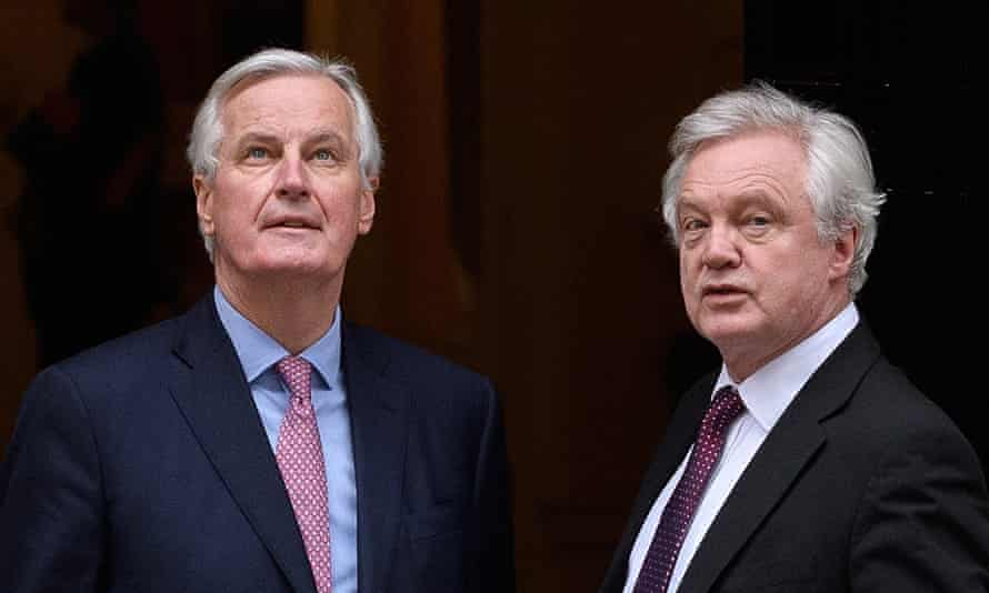 Key players Michel Barnier David Davis meet in London on 5 February.