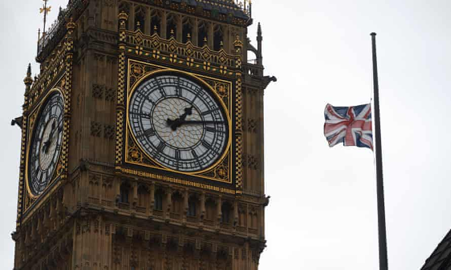 A union flag flies at half mast at the Houses of Parliament in honour of Labour MP Jo Cox.